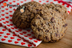 cookie aveia com chocolate. receita
